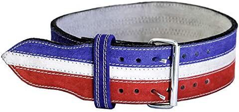 Ader Sporting Goods Leather Power Weight Lifting Belt- 4 Red White Blue Large 35 -42