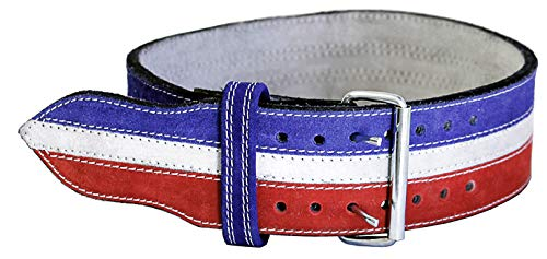 Ader Leather Power Weight Lifting Belt- 4'' Red/ White/ Blue (Large)