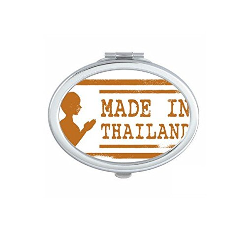 Kingdom of Thailand Thai Traditional Customs Make In Thailand Buddha Art Illustration Oval Compact Makeup Pocket Mirror Portable Cute Small Hand Mirrors by DIYthinker