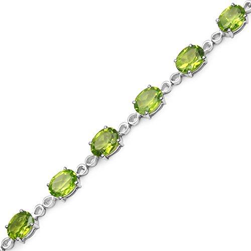 """Sterling Silver Péridot Ovale Cut [7.5 """"/19.05 mm] Bracelet Tennis en 14.4 Carats pour les femmes"""