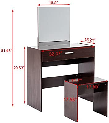 Amazon.com: Dark Brown Vanity Dressing Set Desk Stool with ...