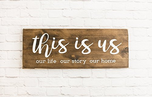 Dark Walnut This Is Us Wood Sign, Modern Farmhouse Style Wooden Wall Decor - Country Medium Wall Bracket