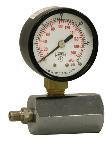 """Winters PET Series Steel Dual Scale Gas Test Pressure Gauge with Polycarbonate Lens, 0-30 psi/kpa, 2"""" Dial Display, +/-3-2-3% Accuracy, 3/4"""" FNPT Connection"""