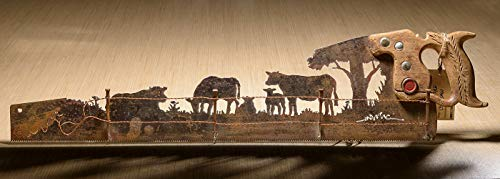 Metal Art Rustic custom cut handsaw Cattle Cow and Fence design | Wall Decor | Recycled Art | Re-purposed Made to Order for ranchers | Plasma cut metal art