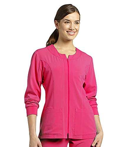 Marvella by White Cross Women's Jewel Neck Zip Front Scrub Jacket X-Small Plum Cherry