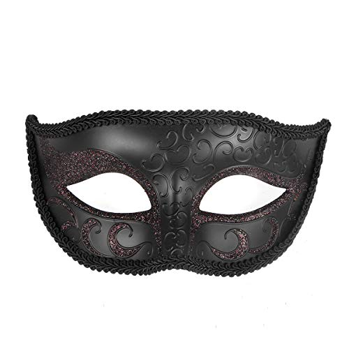 Funny Party Unisex Sparkle Masquerade Mask Half Face for Masquerade Ball Black