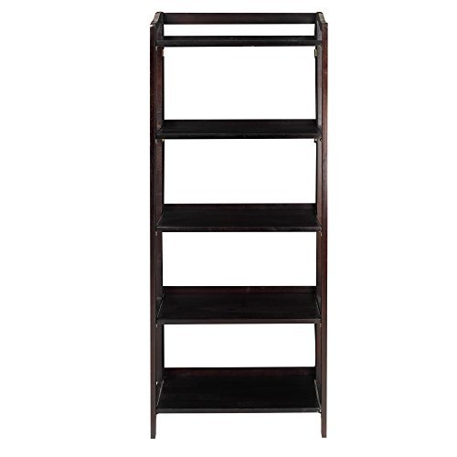 Casual Home 337-53 Stratford 5-Shelf Folding Bookcase-Espresso