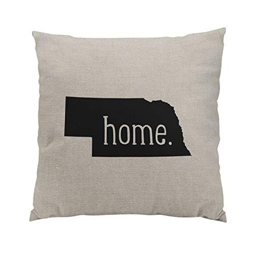 Wesbin Nebraska Home State Fancy Hidden Zipper Home Sofa Decorative Throw Pillow Cover Cushion Case Inch 16x16 Square Two Sides Design Printed ()