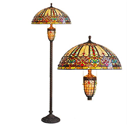 Lamp, 22-inch Baroque Handmade Stained Glass Floor Lamp, European Luxury Living Room Bedroom Study Floor Light (Tiffany Inspired Double Wire)