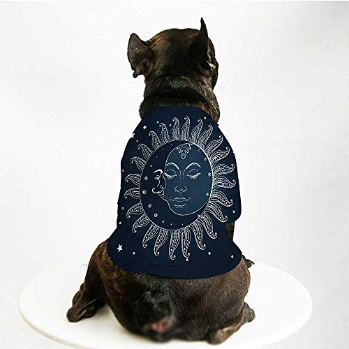 YOLIYANA Sun and Moon Comfortable Pet Suit,Spiritual Celestial Theme Sun with Crescent Moon Midnight Art for Teddy Chihuahua Bichon,L ()