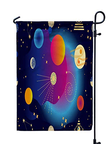Shorping Welcome Garden Flag, 12x18Inch Abstract Space Background Pattern Constellations Sun Moon Planets Trendy Blue Purple Galaxies for Holiday and Seasonal Double-Sided Printing Yards Flags]()