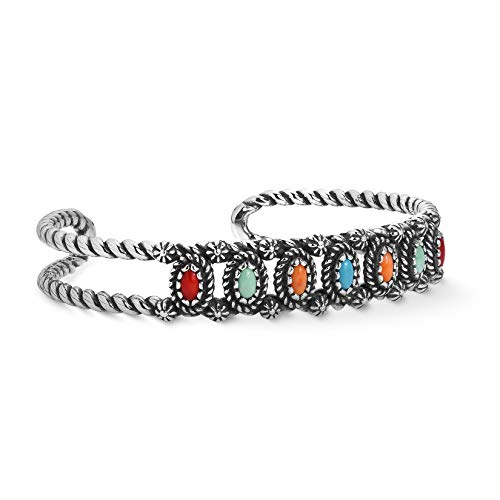 American West Sterling Silver Multicolor Gemstone Rope Cuff Bracelet Size Small