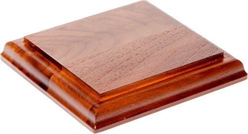 (Plymor Brand Solid Walnut Square Wood Display Base with Ogee Edge.75