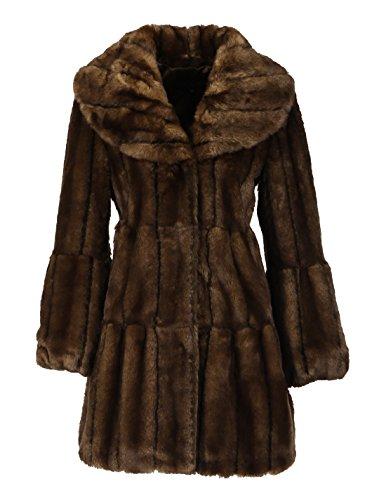 Sable Fur Coat (Enjoy fur Women's Dark Brown 2016 New Style Sable Faux Fur Coat (middle length) (Large))