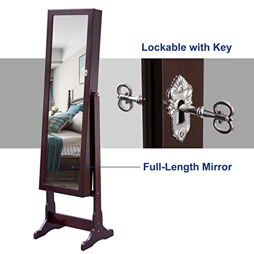 SONGMICS 6 LEDs Mirror Jewelry Cabinet Lockable Standing Mirrored Jewelry Armoire Organizer 2 Drawers Brown Mother's Day Gift UJJC94K by SONGMICS (Image #8)