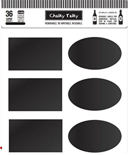 Chalky Talky 36 Reusable Personalized Beer Bottle Adhesive Labels for Home Brewing - Hand Printable Labels Waterproof by Chalky Talky Chalkboard Beer Bottle Labels (Image #1)