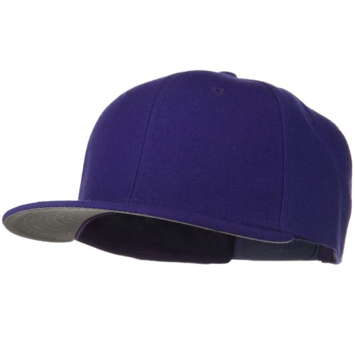 Otto Caps Wool Blend Flat Visor Pro Style Snapback Cap - Purple (Ultrafit Wool Blend Cap)