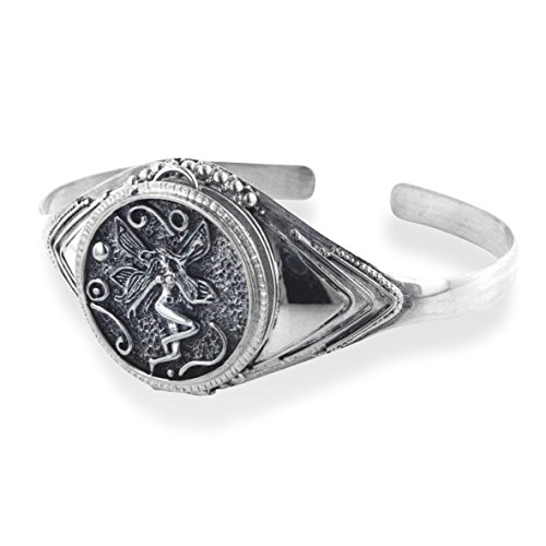 - Fairy Poison Locket or Prayer Box Sterling Silver Cuff Bracelet 7.5