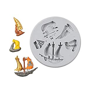 Fondant Liquid Silicone Model Sailing Ship Corsair Seabird Collection Smooth sailing mold DIY baking tool