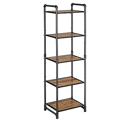 VASAGLE Bathroom Shelf, 5-Tier DIY Storage Rack, Industrial Style Extendable Plant Stand with Adjustable Shelf, for Living Room, Bathroom, Balcony, Kitchen, Rustic Look UBSC25BX - Show It Off: Invite this storage rack with rustic charm and urban design to your home to spice up your space while displaying your favorite plants or books; it's so attractive that you'd hate to hide it in a closet, even though it fits perfectly inside Have It Your Way: With a customizable design, you can extend it infinitely with similar shelves—at least until it reaches the limits of your walls; also, the shelf height is adjustable so your plants or decorations can all have a home here, big or small A Stable Life: The robust resin slat combined with steel water pipe in industrial style offers industrial-like strength; the 55 lb load capacity ensures a stable life for your secret garden on this plant stand - shelves-cabinets, bathroom-fixtures-hardware, bathroom - 41N9sQDD2zL. SS400  -