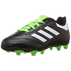adidas Kids' Goletto VI FG J Soccer Shoe, Black/White/SGreen, 9.5 Medium US Little Kid