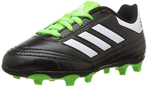 adidas Performance Kids' Goletto VI FG J Soccer Shoe, Black/White/SGreen, 9.5 Medium US Little Kid