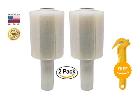 "2-Pack Clear Plastic Stretch Film Industrial Strength, Mini Hand Stretch Wrap with Handles, 80 gauge, 5"" x 1000 ft Each for Shipping, Pallet Wrapping, Packing & Securing by Palpak Films by PalpakUSA Films"