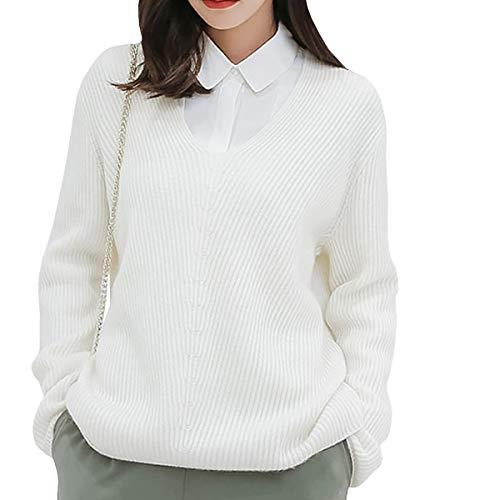 Cuello Manga Dissa Larga Sin F4906 Jersey V Blanco nbsp;mujer Cachemira En qHOtwS6H