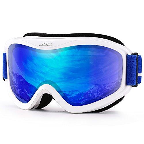 JULI OTG Ski Goggles-Over Glasses Ski / Snowboard Goggles for Men, Women & Youth - 100% UV Protection Anti-fog Dual Lens(White Frame+14%VLT REVO Blue - Goggles Ladies
