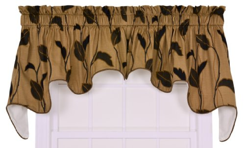 Ellis Curtain Riviera Large Scale Leaf and Vine Lined Duchess Valance Window Curtain, Coffee
