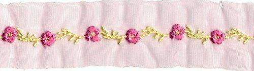 2pcs 1 Yard Pink Yellow Flower Embroidery Trim Ribbon Yardage