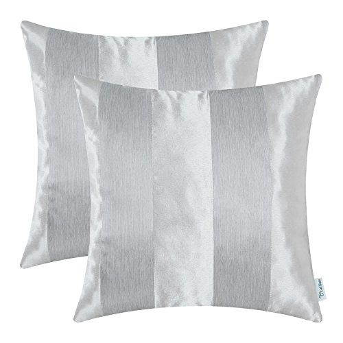 CaliTime Pack of 2 Cushion Covers Throw Pillow Cases Shells Couch Sofa Home Decoration Modern Shining & Dull Contrast Striped 18 X 18 Inches Silver -