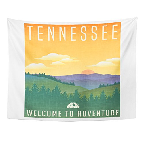 - Breezat Tapestry Tennessee United States Travel Luggage Sticker Scenic of the Great Smoky Mountains with Pine Trees Home Decor Wall Hanging for Living Room Bedroom Dorm 60x80 Inches