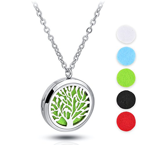 24' Life (Stainless Steel Diffuser Locket Tree Life Aromatherapy Pendant Set,with 24'' Premium Chain + 5 Thick Pads)