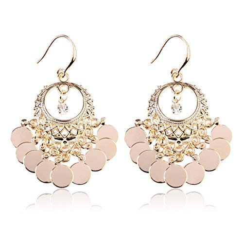 - RIAH FASHION Bohemian Coin Dangle Chandelier Earrings - Lightweight Gypsy Filigree Hoops with Disc Charms (Gypsy Dangle 3 - Gold)