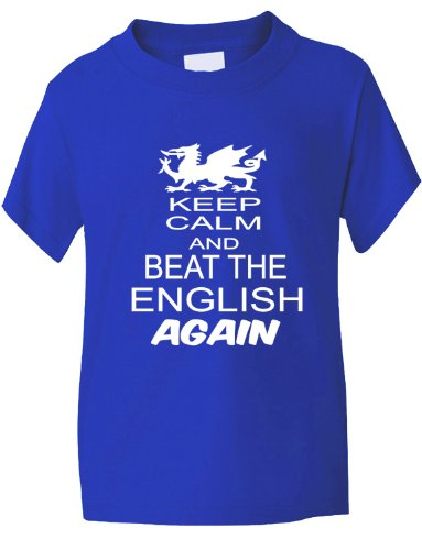 Print4U Rugby Wales Welsh Beat The English 6 Nations World Cup Kids T-Shirt 5-6 Blue Wales Rugby Six Nations