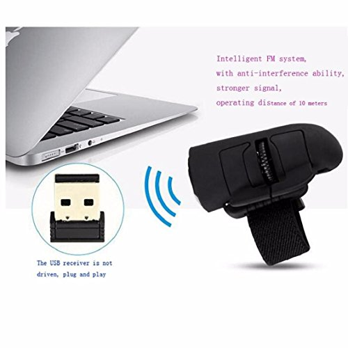 Price comparison product image Mchoice High Speed Mini 2.4GHz USB Wireless Lazy Finger Rings Optical Mouse 1200Dpi For PC Laptop Desktop (Black)