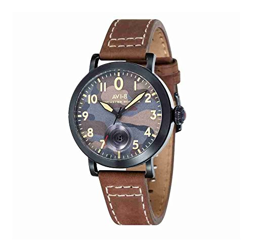 AVI-8 AV-4020-06 Mens Lancaster Bomber Brown Leather Strap Watch