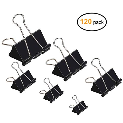 120pcs Binder Clips Paper Clamp, Mini / Micro / Small / Medium / Large / Jumbo 6 Assorted Sizes Paper Clasp for Office, School and Home ()