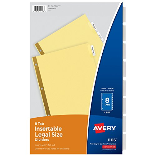 Avery Legal Insertable Dividers 11116