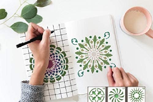 Drawing Reusable Stencils Lettering Aids,Mandala Stone Wall Painting Stencil for DIY Walls Art Scrapbook,Journal Mandala Stencils Craft Drawing Template