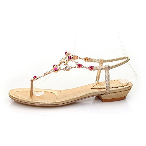 AmoonyFashion Womens Split Toe Low Heels Soft Material Solid Pull On Sandals Gold ClonuAxT