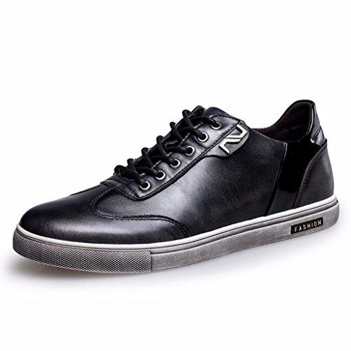 Moonwalker Men's Full Grain Leather Fashion Sneakers (6 D(M) US,Black)