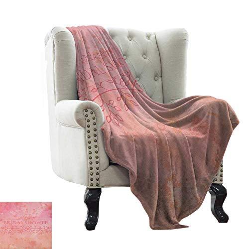 LsWOW Cool Blanket Bridal Shower,Bride Invitation Grunge Abstract Backdrop Floral Design Print, Pale Pink and Salmon Soft Summer Cooling Lightweight Bed Blanket 35