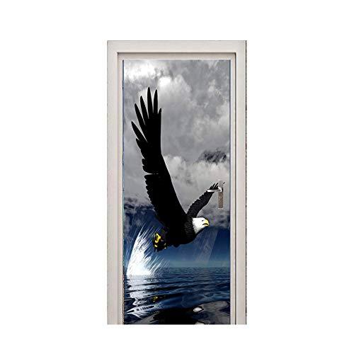 Wqq Etiqueta de la Puerta Animal Águila Loro 3D Mural Pared Impermeable Autoadhesivas PVC Pegatina Puerta Cartel engomada...