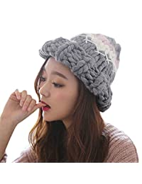 OMINA Outdoor Hat, Cute Curling Knit Thickening Color Matching Pointed Handmade Wool