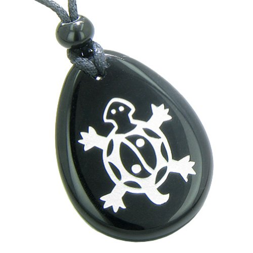 Lucky Turtle and Magic Yin Yang Spiritual Powers Amulet Black Agate Pendant Necklace