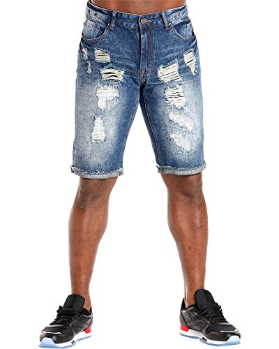 XRAY JEANS Men's Heavy Rips Cuffed Shorts,Blue,32
