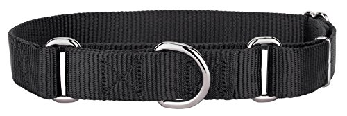 Wide Nylon Collar - Country Brook Design Martingale Heavyduty Nylon Dog Collar - Black - Medium