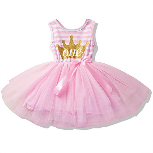 NNJXD Girl Shinny Stripe Baby Girl Sleeveless Printed Tutu Dress Size (80) 10-12 Months (One Year Old Outfit Girl)